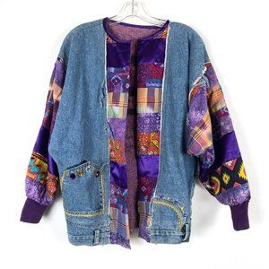 Vintage Patchwork One of a Kind Art Jean Jacket